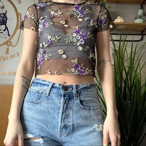 urban outfitters mesh crop top